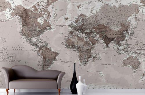 mappa murale del planisfero
