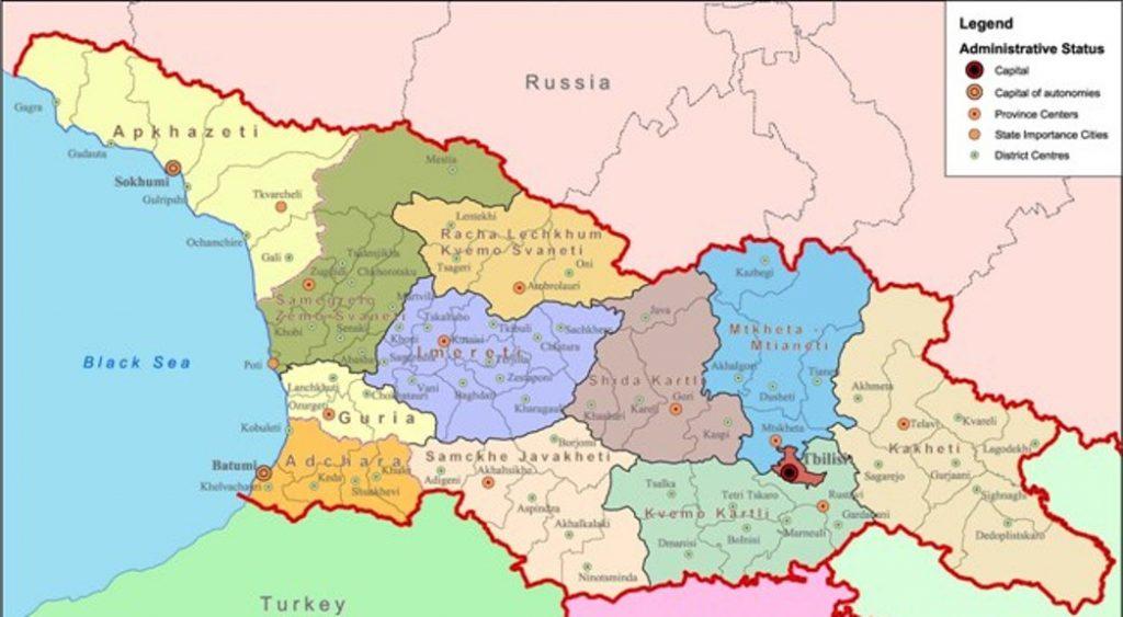 mappa della Georgia terra dei nosti avi